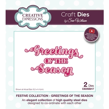 Creative Expressions GREETINGS OF THE SEASON Sue Wilson Festive Collection Dies cedss017