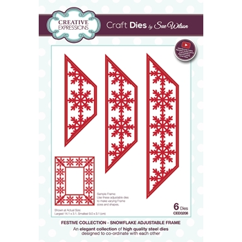 Creative Expressions SNOWFLAKE ADJUSTABLE FRAME Sue Wilson Festive Collection Dies ced3208