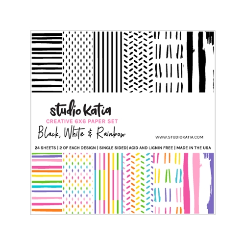 Studio Katia BLACK WHITE AND RAINBOW 6 x 6 Paper Set skps01 Preview Image