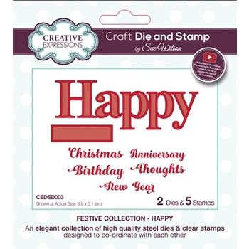 Creative Expressions HAPPY Sue Wilson Festive Collection Dies and Stamps cedsd003