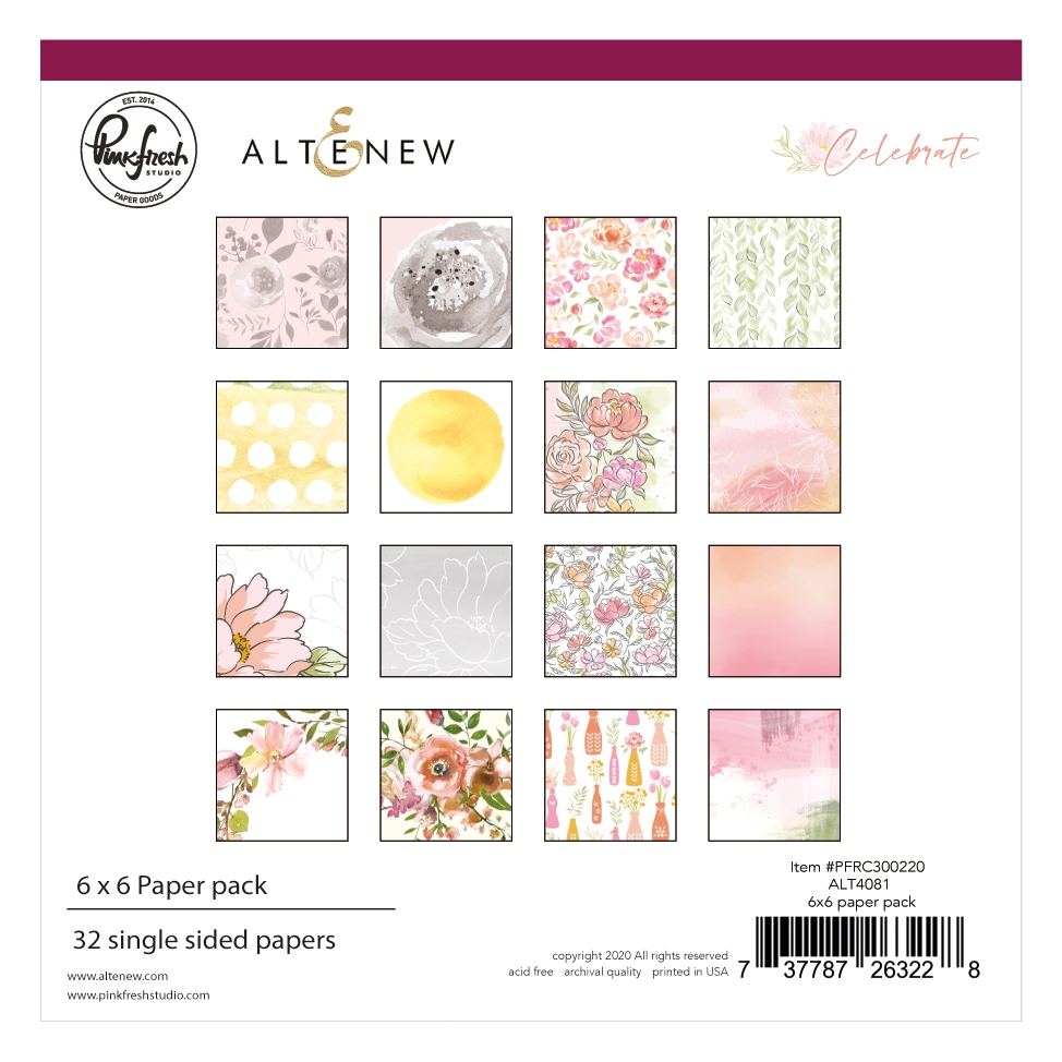 PinkFresh Studio Altenew CELEBRATE 6 x 6 Paper Pack pfrc300220 zoom image