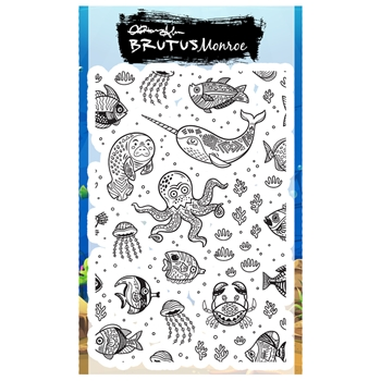 Brutus Monroe UNDERWATER FRIENDS Clear Stamp bru4211