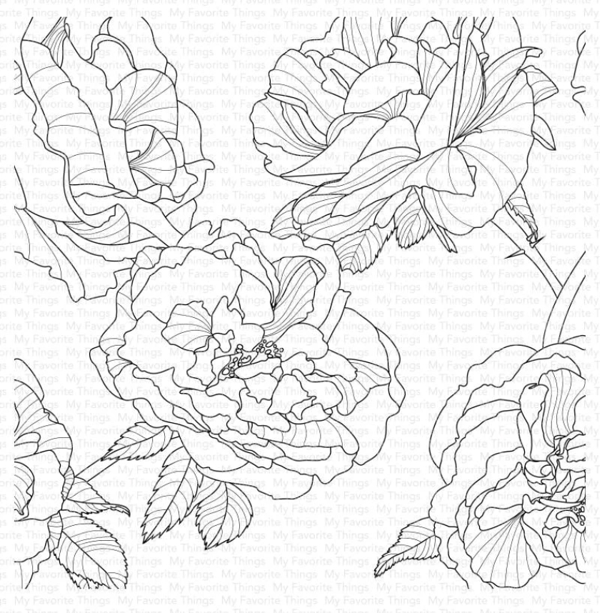My Favorite Things FANCIFUL ROSES Cling Background Stamp bg120 zoom image