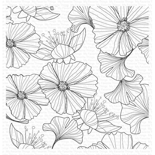My Favorite Things LOOSELY LINED FLOWERS Cling Background Stamp bg123 Preview Image