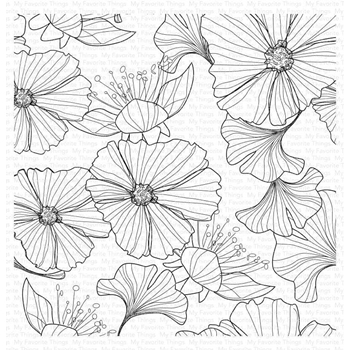 My Favorite Things LOOSELY LINED FLOWERS Cling Background Stamp bg123