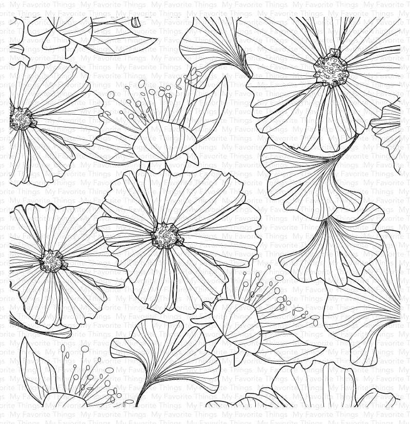 My Favorite Things LOOSELY LINED FLOWERS Cling Background Stamp bg123 zoom image