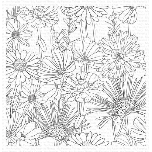 My Favorite Things FLOWER FIELD Cling Background Stamp bg126 Preview Image