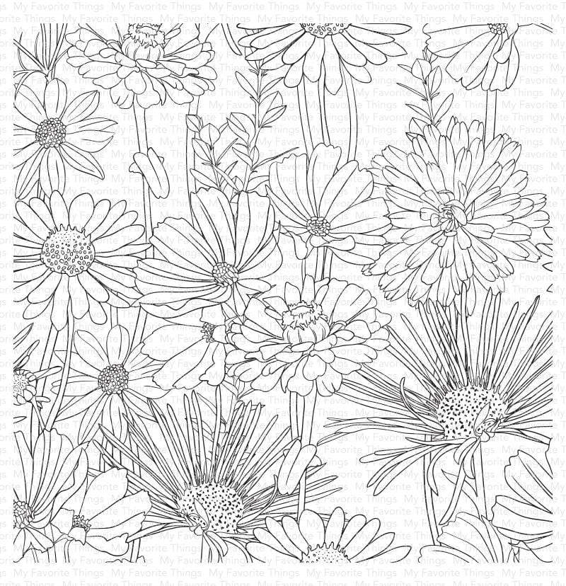 My Favorite Things FLOWER FIELD Cling Background Stamp bg126 zoom image