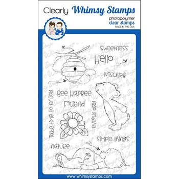 Whimsy Stamps HELLO BEAR Clear Stamps CWSD320