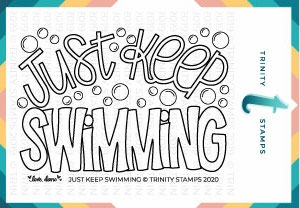 Trinity Stamps JUST KEEP SWIMMING Clear Stamp Set tps045