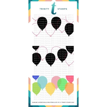 Trinity Stamps SLIMLINE LAYERED BALLOONS 6 x 9 Stencil Set of 2 tss020
