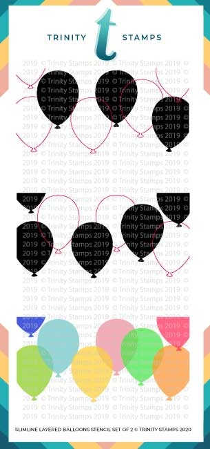 Trinity Stamps SLIMLINE LAYERED BALLOONS 6 x 9 Stencil Set of 2 tss020 zoom image