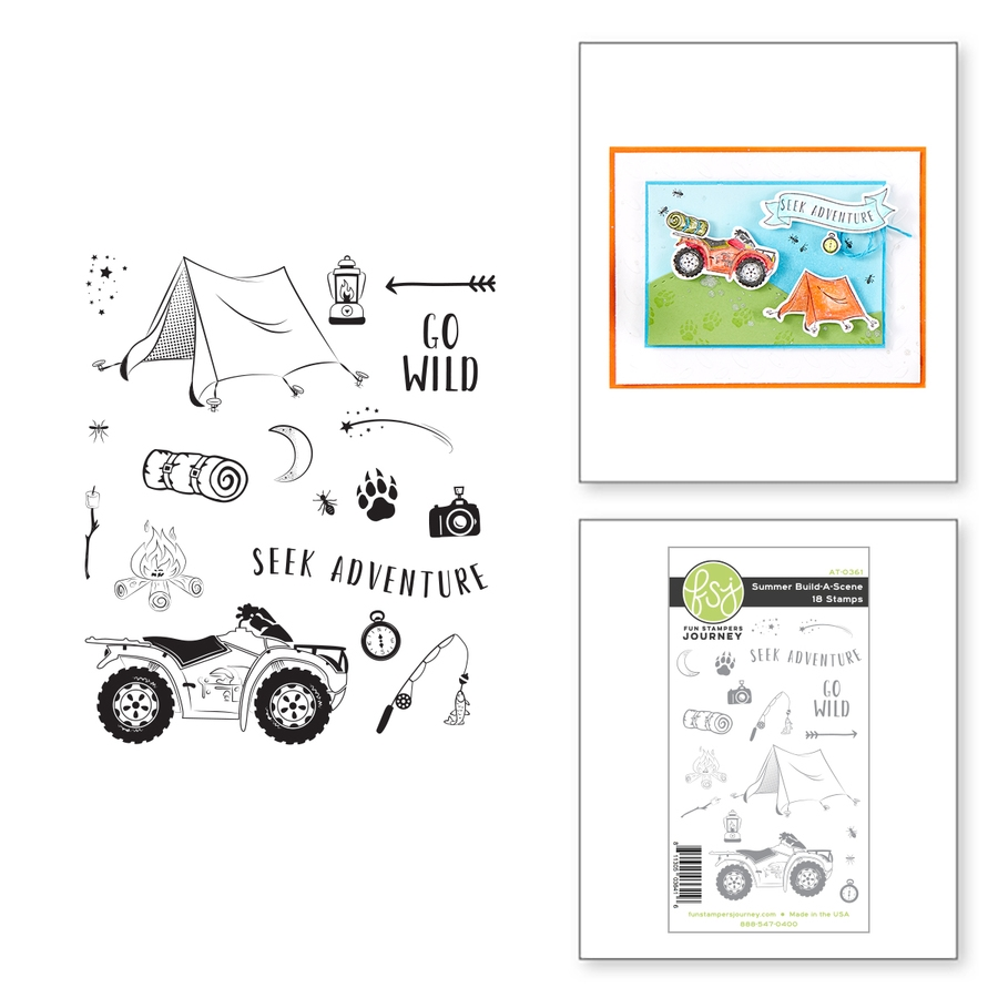AT-0361 Spellbinders SUMER BUILD A SCENE Cling Stamps zoom image