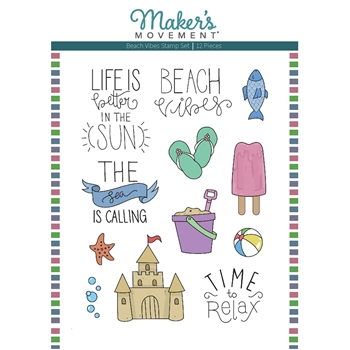 Maker's Movement BEACH VIBES Clear Stamp Set mos226