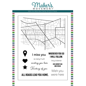 Maker's Movement WISH YOU WERE HERE Clear Stamp Set mos225