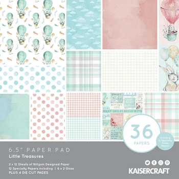 Kaisercraft LITTLE TREASURES 6.5 x 6.5 Inch Paper Pad pp1088