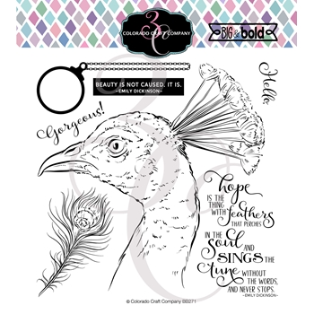 Colorado Craft Company Big and Bold SINGS PEACOCK Clear Stamps BB271