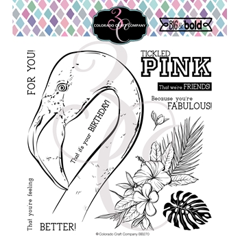 Colorado Craft Company Big and Bold TICKLED PINK Clear Stamps BB270