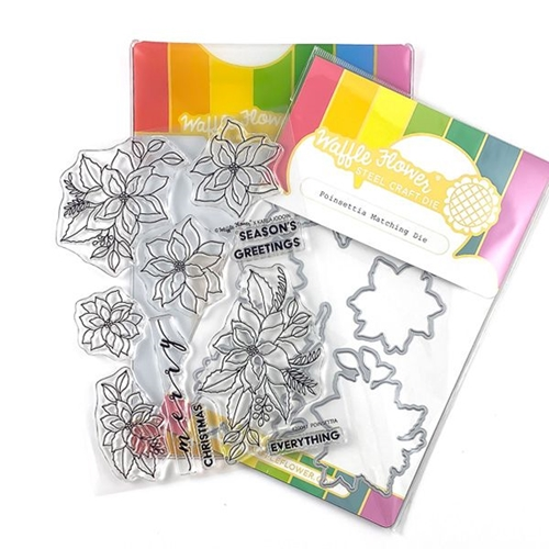 Waffle Flower POINSETTIA Clear Stamp and Die Combo 420043* Preview Image