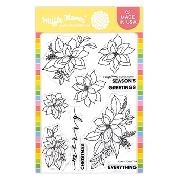 Waffle Flower POINSETTIA Clear Stamps 420041