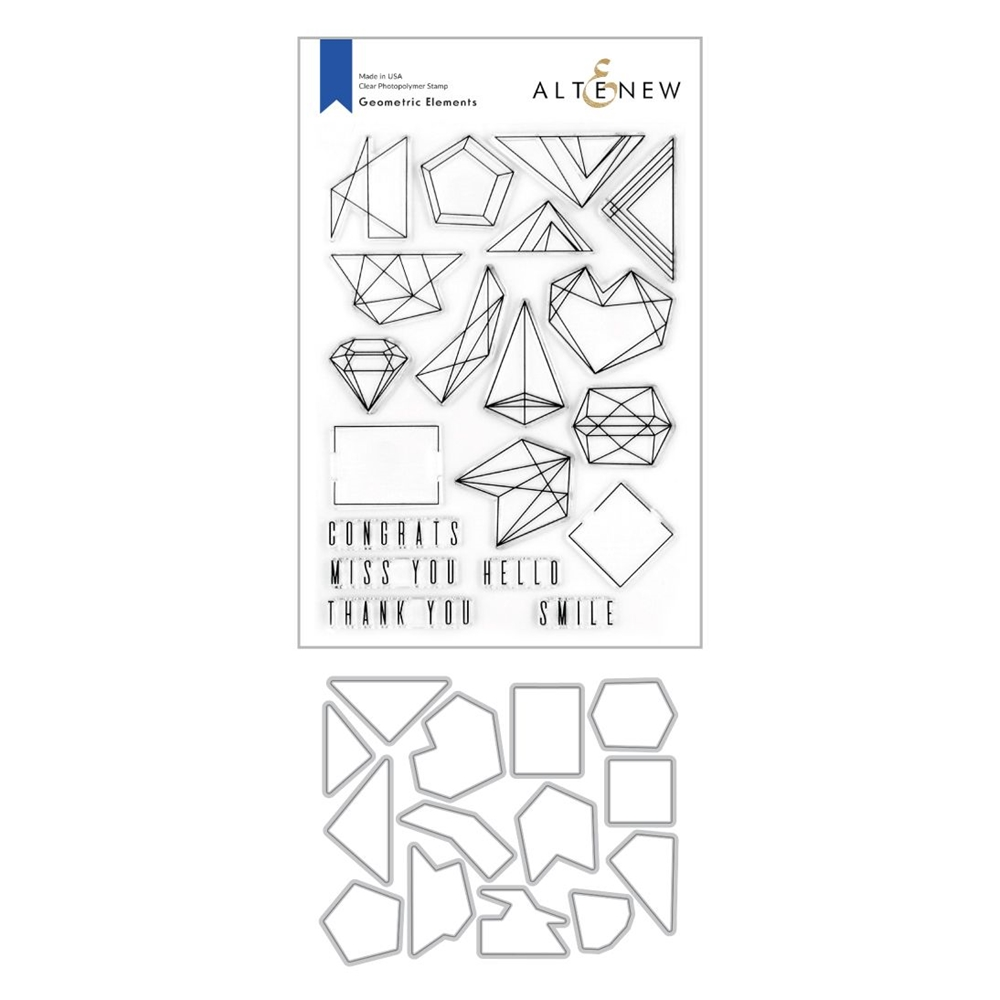 Altenew GEOMETRIC ELEMENTS Clear Stamp and Die Bundle ALT4271  zoom image