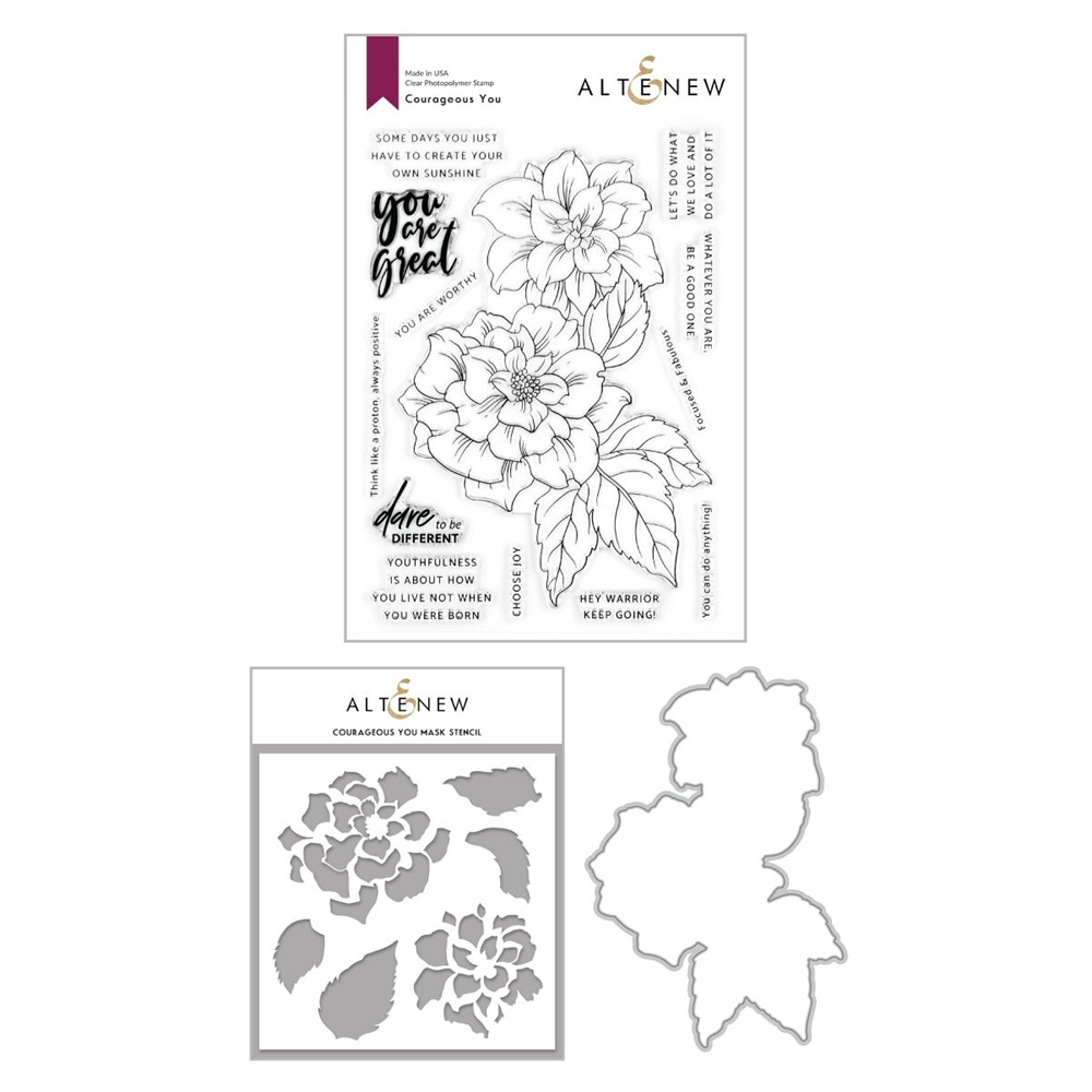 Altenew COURAGEOUS YOU Clear Stamp, Die and Mask Stencil Bundle ALT4264 zoom image