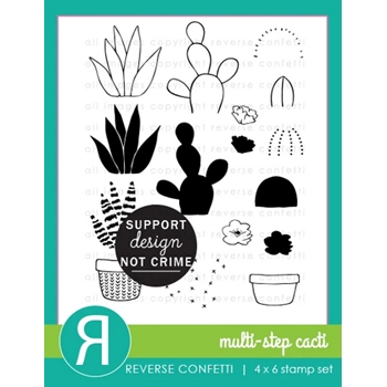 Reverse Confetti MULTI STEP CACTI Clear Stamps