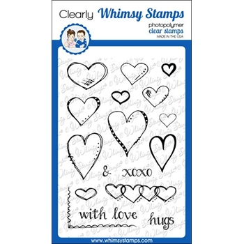 Whimsy Stamps FA DOODLES HEARTS Clear Stamps CWSD325