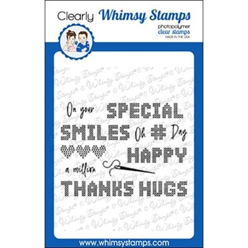 Whimsy Stamps CROSS STITCHED SENTIMENTS Clear Stamps CWSD323