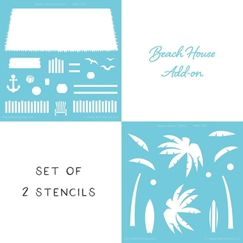 Honey Bee BEACH HOUSE Stencil Set of 2 hbsl057