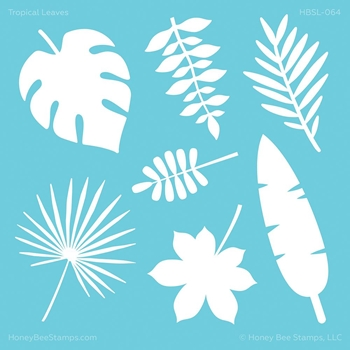 Honey Bee TROPICAL LEAVES Stencil hbsl064