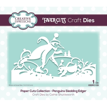 Creative Expressions PENGUINS SLEDDING EDGER Paper Cuts Collection Dies cedpc1123