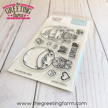 The Greeting Farm GAMER COUPLE Clear Stamps tgf560