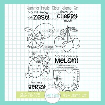Sweet 'N Sassy SUMMER FRUITS Clear Stamp Set sns20025
