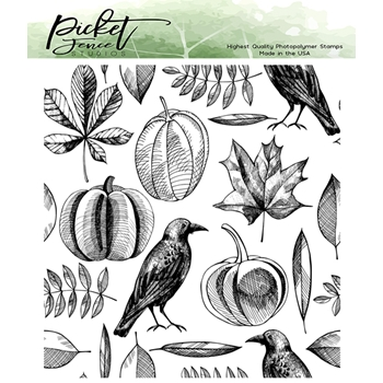 Picket Fence Studios AUTUMN HARVEST COLLAGE Clear Stamp f141