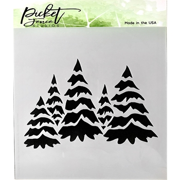 Picket Fence Studios FIELD OF SNOWY TREES 6x6 Stencil sc178