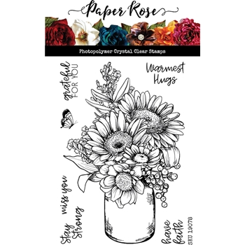 Paper Rose SKETCHY HANDPICKED BOUQUET Clear Stamps 19078