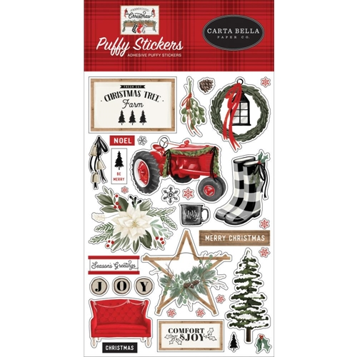 Carta Bella FARMHOUSE CHRISTMAS Puffy Stickers cbfac123066 Preview Image