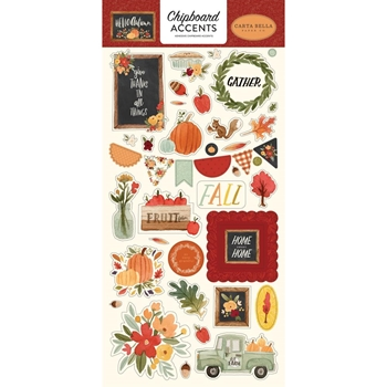 Carta Bella HELLO AUTUMN 6 x 13 Chipboard Accents cbhea122021