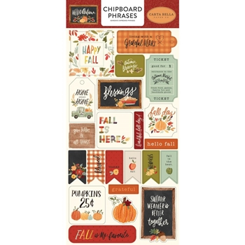 Carta Bella HELLO AUTUMN 6 x 13 Chipboard Phrases cbhea122022