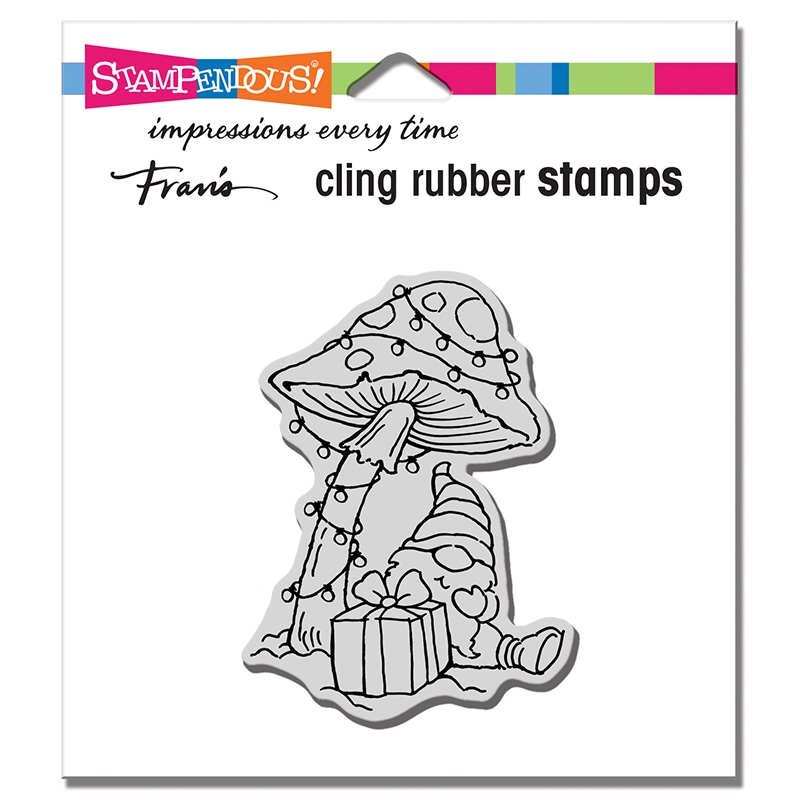 Stampendous Cling Stamp MUSHROOM GNOME crm347 zoom image