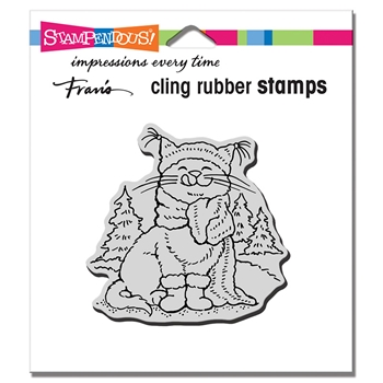 Stampendous Cling Stamp SCARF KITTY crq253