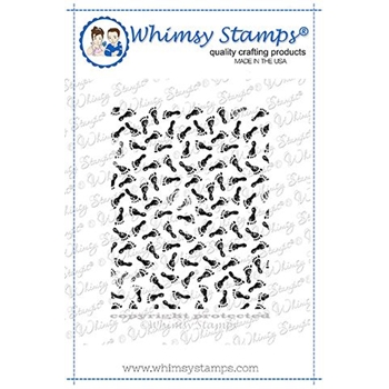 Whimsy Stamps FOOTPRINTS BACKGROUND Rubber Cling Stamp DDB0043