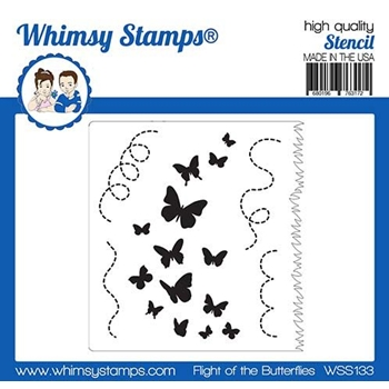 Whimsy Stamps FLIGHT OF THE BUTTERFLIES Stencil WSS133