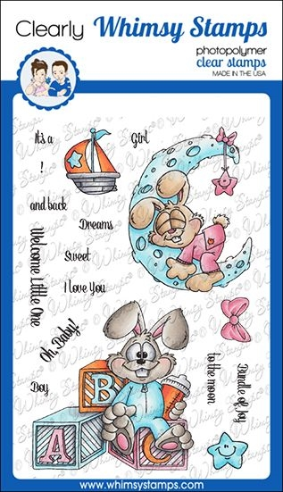Whimsy Stamps BUNNY BABIES Clear Stamps DP1048 zoom image