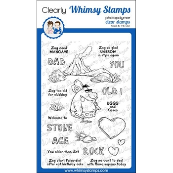Whimsy Stamps CAVEMAN ZOG Clear Stamps CWSD329