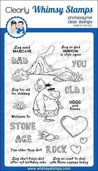 Whimsy Stamps CAVEMAN ZOG Clear Stamps CWSD329 zoom image