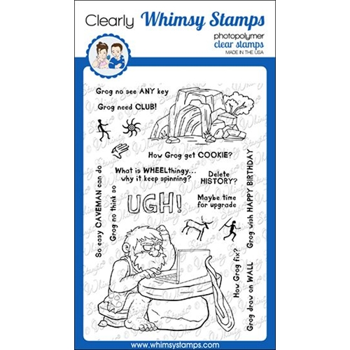 Whimsy Stamps CAVEMAN GROG Clear Stamps CWSD328 Preview Image