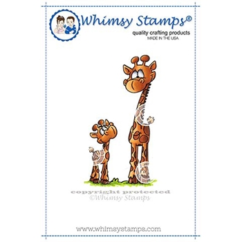 Whimsy Stamps GIRAFFE MAMMA AND BABY Rubber Cling Stamp DP1047