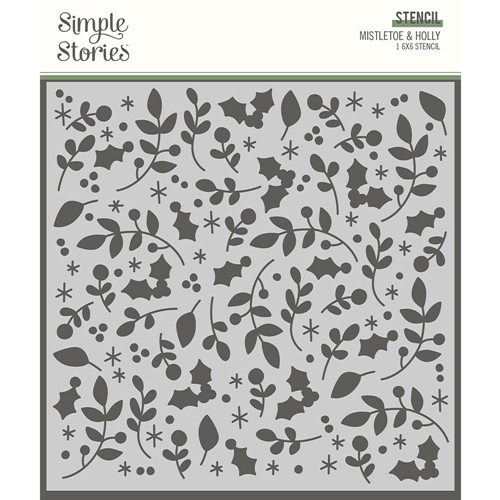Simple Stories JINGLE ALL THE WAY MISTLETOE AND HOLLY 6 x 6 Stencil 13727 Preview Image